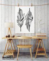 Heilige Federn Enhanced Matte Paper Poster | Kunst der amerikanischen Ureinwohner | Grafik Zeichnung | Geometrische Kunst | Tinte Tätowierungsart | ZuskaArt – Paper Poster