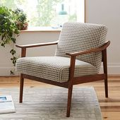 Mid-Century Stuhl aus Holz, Poly, Hillside, Blue Multi, Espresso