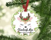 Baby's FIRST Christmas ornament.Baby Reindeer.Christmas ornament.Personalized christmas ornament.Baby's first Christmas – painted glass