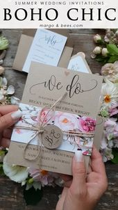 Invitations  Boho weddng invitation with flowers and eco paper   #bohowedding #bohoweddinginv...
