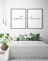 Über dem Bett Kunst – süße Träume – druckbare Kunst (2er-Set), Schlafzimmer …