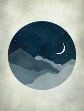 Starry Night Nursery Decor, Art for Kids, Nursery Wall Art, Moon and Stars, Mid …