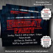 Stranger Party Invitations, Strange Birthday Party, PRINTABLE Party Invitations, Strange Thin…