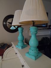Set of Two Shabby Chic Vintage Wood Lamps in Turquoise