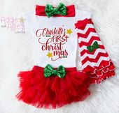 Baby First Christmas Outfit, Baby First Christmas Bodysuit, Baby Christmas Tutu, My First Christmas, Baby First Christmas Outfit Girl – baby and infant shirts