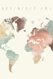 Journey awaits, World map artwork, Giant Journey map, World map wall artwork watercolor print, Present decor, pastel, House Decor, ArtPrintsVicky