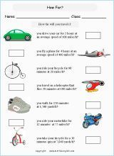 Grade 5 Or 6 Math Speed Worksheet Based On Imperial Units Of Speed