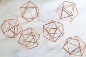 7.8″ Copper Himmeli Orb, Wedding Table Decor, Icosahedron Modern Himmeli SPHERE , Geometric Ornament, Air Plant Holder, Library Decor