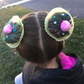 Cupcake hair buns for crazy hair day at school. #girlhairstylesforschoolkids,  #buns #crazy #…