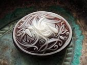 ORNATE OVAL SOAP, filigree scroll soap, spring soap, for her, hostess gift, dyed in copper and cream, custom fragrance, Mother's Day gift   – シリコンソープ Silicone mold soap
