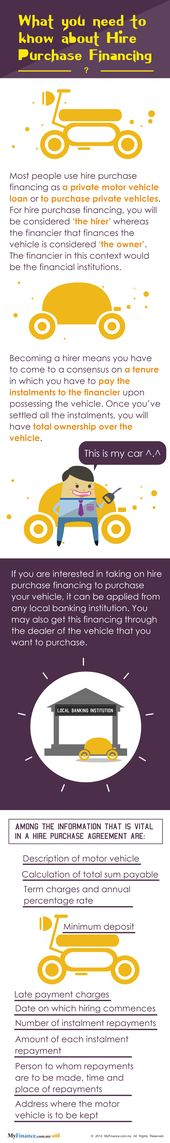 Most people use hire purchase financing as a private motor vehicle - vehicle purchase agreement