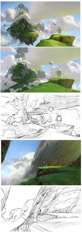 Konzeptkunst Umwelt Design Farbpalette Visuelle Entwicklung Digitale Malerei …
