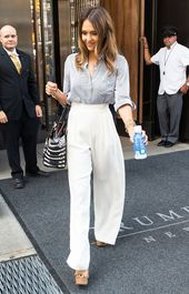 Celebrity Summer Style: Jessica Alba in white palazzo trousers  #celebrity #jess…