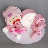 Süßes Windelbaby in pink – 12 Windeln der Marke Pampers Premium Protection New … – bsteln   – Neugeborene Happy..!!!