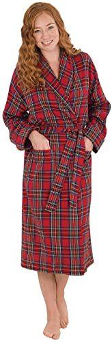 PajamaGram Cotton Flannel Robe Womens Soft Yarn Dyed Plaid