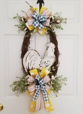 Farmhouse Rooster Front Door Wreath, Kitchen Rooster Wreath, Country Rooster Decor, Farmhouse Kitchen Wreath, Mothers Day Gift