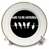 3drose Black Birds on a wire – Fun Dare to be different humor – funny silhouette cool graffiti – humorous, Porcelain Plate, 8-inch   – Products