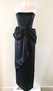 Size 8 Full Length Dress Satin Green Victor Costa Wrapped Large-Bow Women