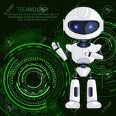 Technology banner, white robot waving to us and text sample with letterings above, robotic creature and interface, isolated on vector illustration , #…
