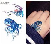 Waterproof Temporary Tattoo sticker for body art color Sea Octopus fish water tr…,  #art #b…