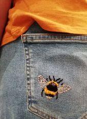 Bumble Bee Bordado // Bordado de mezclilla DIY // Vaqueros bordados # Bordado #bumble …