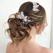 Bridal hair comb butterflies hair pin pearl white butterfly hair piece silver hair vine wedding accessories bridesmaid hair comb crystal