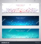 Set of scientific and technological vector banners. Abstract background with molecular structures #Ad , #Ad, #technological#vector#Set#scientific