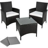 Aluminium Rattan Sitzgruppe Athen 2 + 1 schwarz – TecTakeTecTake  – Products