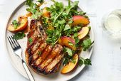 Grilled Pork Chops with Peach-Parsley Salad Recipe — Real Simple #grilled…
