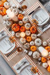 orange und weiße Kürbisse Tablescape Thanksgiving Tabelle Einstellung Details #home #s …