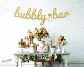 Bubbly Bar Bachelorette Party Banner Wedding Bridal Shower Banner Engagement Party Final Fiesta Glitter Mimosa Bar Champagne Bar Free Ship