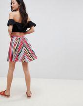 Mini jupe patineuse à rayures plissées Boohoo – ASOS Pretties! – #ASOS #Booh …   – Jupes