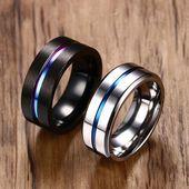 Haga clic y cómprelo: Kompritas.com – Anillo de titanio negro de 8 mm para hombres Mujeres Alianzas de boda Moda Rainbow Groove Anillos Joyas Tamaño de EE. UU.   – T A J E M N I C A