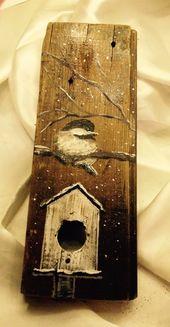 Freehand painted bird on barn board