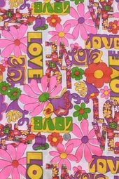 vintage hippie LOVE flower power daisy graffiti print cotton fabric 60s 70s retr…   – Graphics Ga-Ga