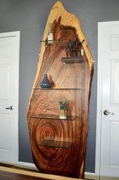 Mitte des Jahrhunderts Modern inspiriert Live Edge Akazienholz Platte Regal oder Display Wandeinheit