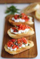 Gebratener roter Pfeffer und Ricotta Bruschetta   – recipes to try