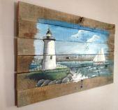Pallet Painting 34X17 Distressed Wood Art Pallet Art | Etsy