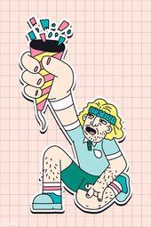 Vector Man Hand drawn man showing a party popper with confetti sticker vector | premium ima...