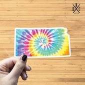 Kansas Tie Dye State Outline Vinyl Sticker, Travel, Laptop Decals, Stickers, Macbook Decal, Stickers