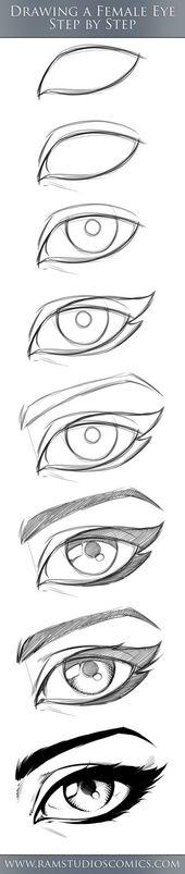 Hier ist ein Comic-Eye-Tutorial zum Ausprobieren. Einfach Schritt für Schritt arbeiten und …   – Zeichnen