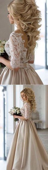 2017 Custom Made White Lace Prom Dress,Middle Sleeves Evening Dress,Backless Party Ball Gown
