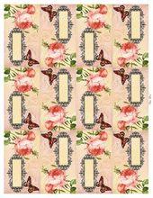 Tented Escort Karten Digital Collage Sheet wahre Liebe Jahrgang rosa Rosen Schmetterling Hochzeit Brautdusche Teegesellschaft druckbare GalleryCat CS191