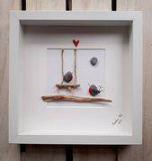 Hochzeitsgeschenk, Robin Kiesel Bild, Rotkehlchen auf einer Schaukel, Vorschlag Bild gerahmt Kiesel Kunst, Valentinstag, Geburtstag, Verlobungsgeschenk