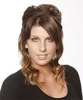 Medium Curly Chestnut Brunette and Blonde Two-Tone Half Up Hairstyle Casual Updo Medium Curly Hairstyle