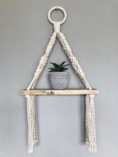 Macrame Hanging Shelf // Wooden Hanging Shelf // Boho Style // Macrame Decor // Nautical Decor // Beach House Decor