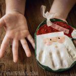 Fingerabdruck-Schneemann-Salzteig-Weihnachtsverzierung
