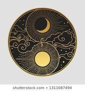 Dekoratives Grafikdesignelement im orientalischen Stil. Sonne, Mond, Wolken, Sterne. V …