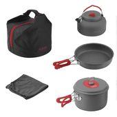 Batterie de camping en aluminium antiadhésive ensemble alocs ultra-léger portable cuisinière extérieure pique-nique bouilloire torchon pour 2-3 personnes vaisselle   – Fourgon aménagé