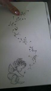 Kims kleiner Engel (der ein verstorbenes Baby darstellt) bläst Wünsche mit den Namen der Geschwister …   – tatoo